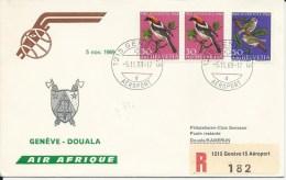 RF 69.22, Air Afrique, Genève - Douala,  DC-8, Recommandé, 1969 - Cameroun (1960-...)