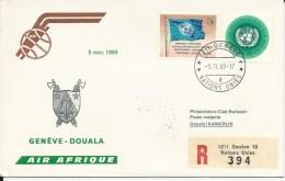 RF 69.22 U, Air Afrique, Genève - Douala,  DC-8, Recommandé, 1969 - Cameroun (1960-...)