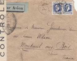 ALGERIEN 194? - 2 X 1,5 F Auf Zensur-FP-Brief Gel.v.Alger > Montreuil - Briefe U. Dokumente