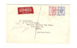 Great Britain Express Cover 1952 Mount Street To Switzerland Via London Arrival Cancellation Bern & Genève PR3084 - Briefe U. Dokumente