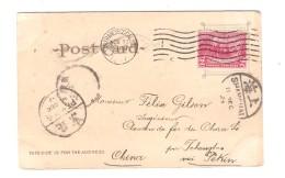 US Stamp On PC Crater Lake Oregon C.San Francisco 1907 To China Railway Chan Si Shangai& Pekin PR3086 - Etats-Unis
