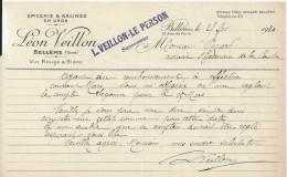 BELLEME LEON VEILLON SUCCESSEUR L VEILLON LE PERSON EPICERIE SALINES EN GROS VIN ROUGE BLANC ANNEE 1920 PETIT MANQUE - France