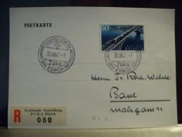 Suisse Carte Recommandée Philatélique Avec R-vignette Speciale (Sonder R Zettel) Kantonale Austellung ZÜKA Zürich 1947 - Switzerland