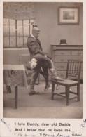 Bamforth Humour Man Spanking Boy I LOve Daddy 1906 Real Photo - Humour