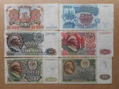 Russia 50,200,500,1000,5000,10000 Rubles 1992 (Lot Of 6 Banknotes) - Russia