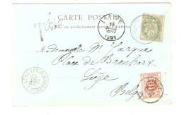 CP Française TP Blanc 5 C Griffe T V.Liège Taxée 10 C + C.ambulant Erquelinnes-Liège 2 PR3090 - Postmark Collection