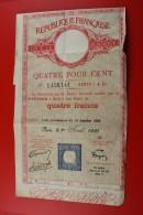 PARIS LE 1ER AVRIL 1935TITRE ACTION  AU PORTEUR QUATRE FRANCS SCRIPOPHILIE DETTE 4% - Banque & Assurance
