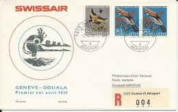 RF 70.6, Swissair, Genève - Douala,  Coronado, Recommandé, 1970 - Cameroun (1960-...)
