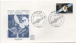 FDC : Lancement Du Satellite TELECOM 1  75 Paris 01.09.1984 Y-T 2312 2313 - FDC
