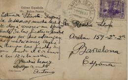 02277 Guinea Colonia Española Tarjeta Postal Censurada Y Enviada De Santa Isabel A Barcelona - Guinea Española