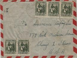 02278 Guinea Colonia Española Carta Enviada De Santa Isabel A USA - Guinea Española