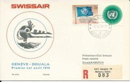 RF 70.6 U, Swissair, Genève - Douala, Coronado, Recommandé, 1970 - Premiers Vols