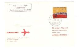 Liechtenstein 1st Jet Flight Caravelle Zürich-Athnens 15/7/1960 With Swissair C.Vaduz 14/7/60 PR3093 - Poste Aérienne