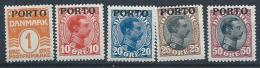 Danemark 1921 Taxe N° 1 Et 4/7 Neufs * MLH Christian X Surchargés - Port Dû (Taxe)