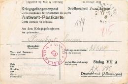 France. Stalag VII A, Censeur 52, Carte Postale Réponse Hirson (Aisne) > Stalag - 2. Weltkrieg 1939-1945