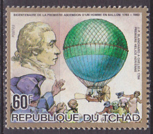 Timbre Neuf ** N° 411(Yvert) Tchad 1983 - Ascension D'un Homme En Ballon, Blanchard - Tsjaad (1960-...)