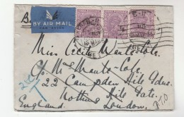 1936 Air Mail  INDIA GV Stamps COVER To GB To London With KENSINGTON Pmk REDIRECTED Camberley Airmail Label - Inde (...-1947)