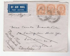 1936 Air Mail Namtu INDIA COVER 3x 2.6a GV Stamps To London GB With KENSINGTON Pmk REDIRECETED Camberley Airmail Label - Inde (...-1947)