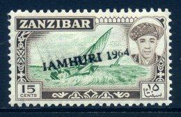 Zanzibar 1964 Jamhuri 1964 Handstamped - 15c Dhow LHM - Zanzibar (1963-1968)