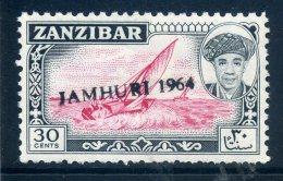 Zanzibar 1964 Jamhuri 1964 Handstamped - 30c Dhow LHM - Zanzibar (1963-1968)