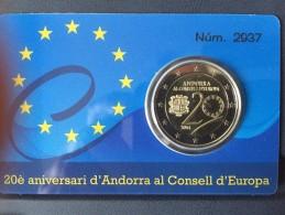 ANDORRA - 2 Euro 2014 PROOF - 20° Anniv. Ingresso Di Andorra Nel Consiglio Europeo - Andorra