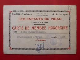LES ENFANTS DU VIGAN SOCIETE MUSICALE CARTE DE MEMBRE Edouard FABRE - Historische Dokumente