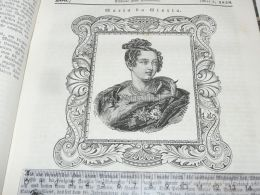 Queen Maria Da Gloria Portugal Engraving Print 1838!!! - Estampas & Grabados