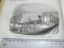 Elvas Portugal Wasserleitung Water Pipe Cano De Agua Engraving Print 1838!!! - Estampas & Grabados