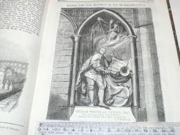 Westminster Abbey London England George Frederick Handel Statue Engraving Print 1838!!! - Prints & Engravings