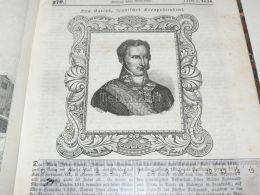 Don Carlos Spain Engraving Print 1838!!! - Estampas & Grabados