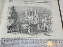 Santa Maria Del Mar, Barcelona Spain Engraving Print 1838!!! - Estampas & Grabados