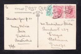 EXTRA9- 77  POST CARD  SEND FROM AUSTRALIA TO PRAHA.