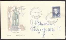 Denmark Copenhagen 1951 / 100 Years Of Death Of Hans Christian Oersted, Danish Physicist And Chemist - FDC