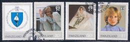 Swaziland, Scott # 406-9 Used Princess Diana,1982, # 408 Has Round Corner - Swaziland (1968-...)