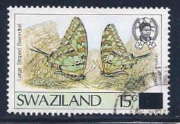 Swaziland, Scott # 575A Used Butterflies, Surcharged,1990 - Swaziland (1968-...)