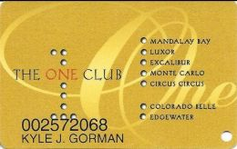 One Club Multi-Casino Slot Card - CPICA 27315 Over Mag Stripe - Printed With Sticker On Back - Casino Cards