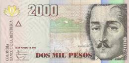 Colombia P457, 2000 Peso, Gen. Sanander / Casa De Moneda Building - See UV Image - Colombia