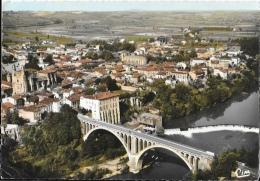 Rabastens (Tarn) - Vue Générale Aérienne, Le Pont Sur Le Tarn - Edition Combier - Carte CIM Colorisée - Rabastens