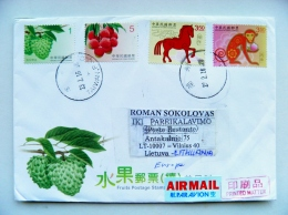 Cover From China Taiwan To Lithuania Horoscope Monkey Horse Fruits - 1945-... Republic Of China
