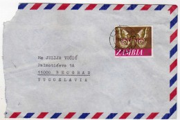 Zambia Letter Via Yugoslavia,papillon,butterfly,Schmetterling - Zambia (1965-...)
