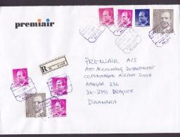 Spain PREMIAIR Registered Certificado (Purple Cds.) AEROPUERTO MALAGA 1996 Cover Letra DRAGOER Amager Denmark - 1931-Heute: 2. Rep. - ... Juan Carlos I