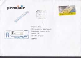 Spain PREMIAIR Registered Certificado Label AEROPUERTO Reina Sopia TENERIFE 1995 Cover Letra Denmark ATM / Frama Label - Poststempel - Freistempel