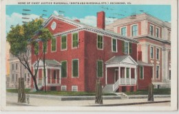 ETATS UNIS RICHMOND 1933 HOME OF CHIEF JUSTICE MARSHALL (NINTH AND MARSHALL STS.) LEGERES MARQUES - Richmond