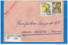 MARCOPHILIE-lettre REC+ Avion -Congo>Françe-cad -1975-2-timbres-N°354-serval-animal-362-Mangues- - Congo - Brazzaville