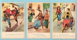 Lotto Illustrazioni Di 6 Cartoline Della Vespa - Motos