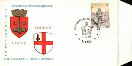 C.O.B. 1367 Journée Du Timbre. Facteur Rural. Visite De S.M. Elisabeth II D´Angleterre. Ecussons De Liège Et Londres - FDC