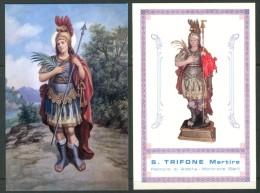 Santino - S. Trifone Martire -  Patrono Di Adelfia-Montrone (BA) 2 Santini Con Preghiera Come Da Scansione. - Images Religieuses