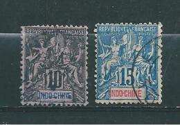 France Colonie Indochine Timbres De 1892/93  N°7/8  Oblitérés - Oblitérés