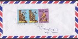 Myanmar Air Mail Registered Recommandée YONGO 199? Cover Lettre LOS ANGELES Etats Unis USA (2 Scans) - Myanmar (Burma 1948-...)