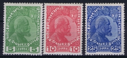 Liechtenstein: 1912 Mi  1x - 3 X MH/* Falz/ Charniere